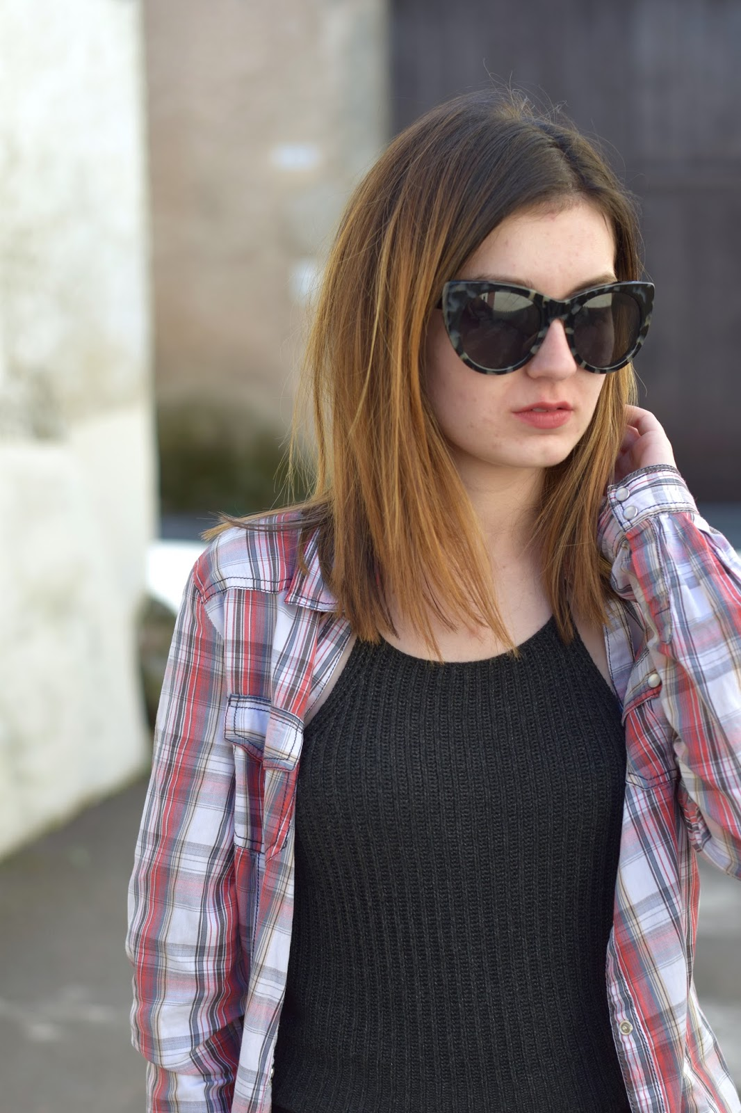 plaid shirt crop top