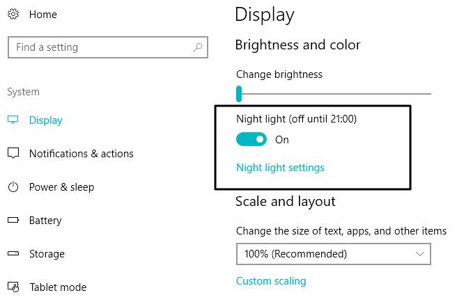 Night light settings windows 10