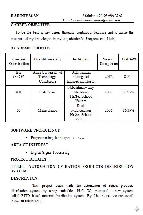 Fresher Electronics Engineering Student Resume Format