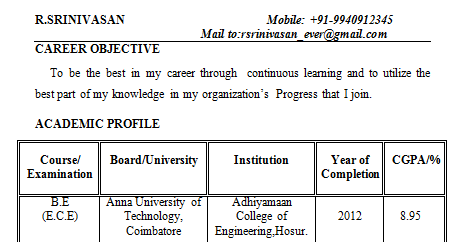 Resume Format For Freshers Engineers Electronics Online Writing Lab