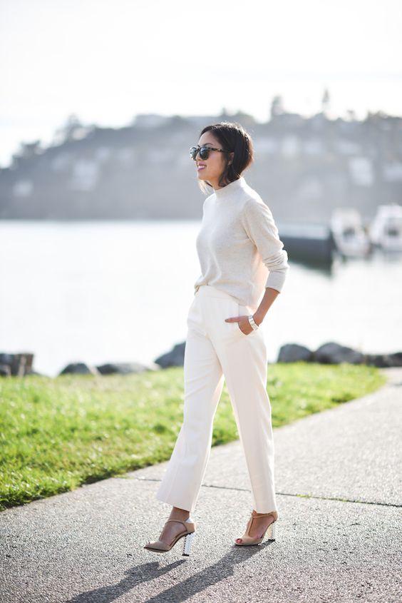 white on white turtleneck and slacks classy chic style