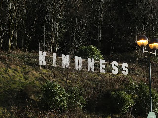 Huge KINDNESS sign at Morrison's car park, Todmorden, Calderdale