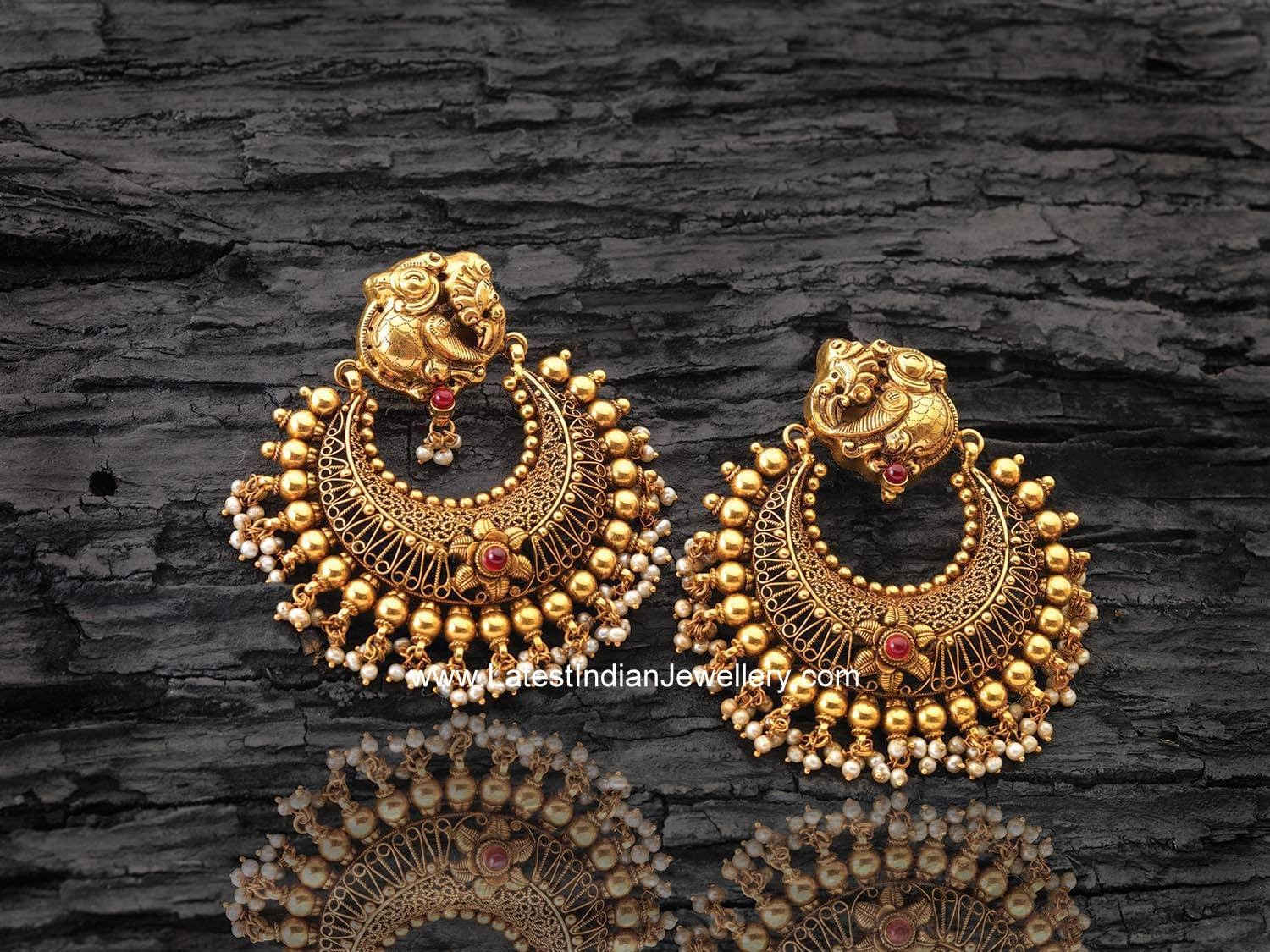 Peacock Gold Chandbalis Latest Indian Jewellery Designs