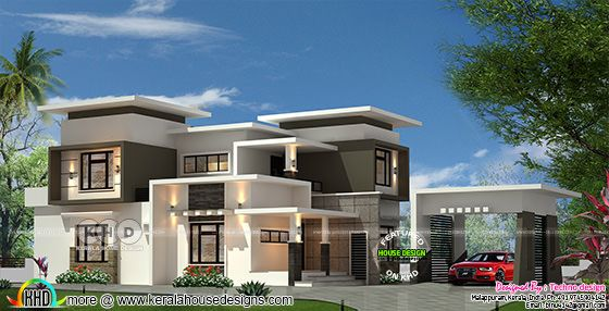Front elevation of flat roof contemporary house rendering