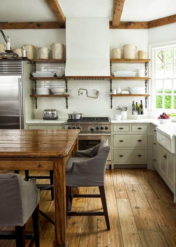 image result for modern farmhouse interior design beautiful white kitchen table