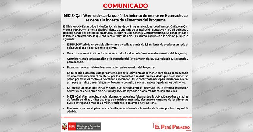 COMUNICADO QALI WARMA: Descartan que fallecimiento de menor en Huamachuco se deba a la ingesta de alimentos del programa social - www.qaliwarma.gob.pe
