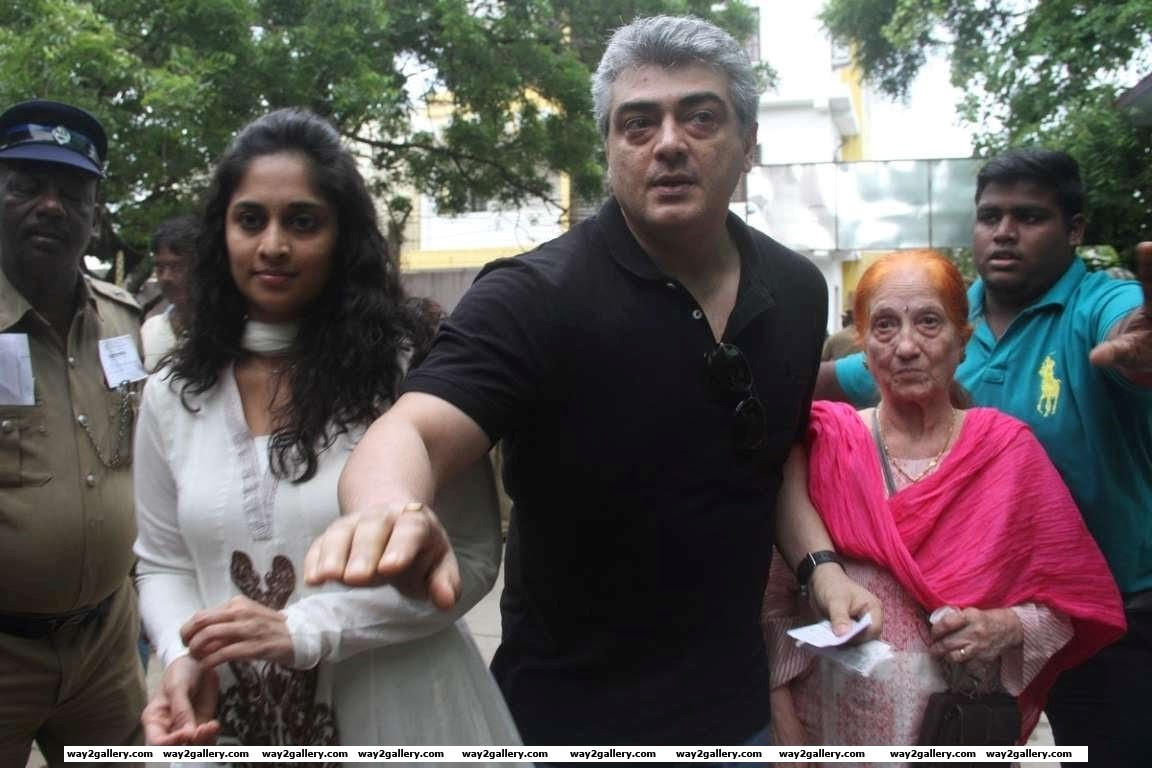 Ajith Kumar also went to vote along with wife Shalini