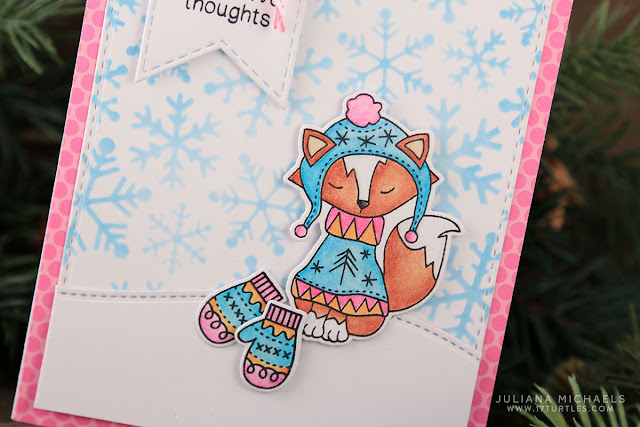 Sending Warm Thoughts Card by Juliana Michaels featuring Newton's Nook Sweater Weather Stamp and Die set and stenciled background