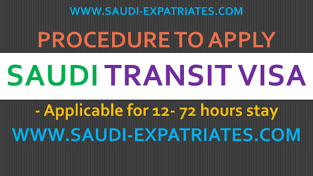 PROCEDURE TO APPLY SAUDI TRANSIT VISA