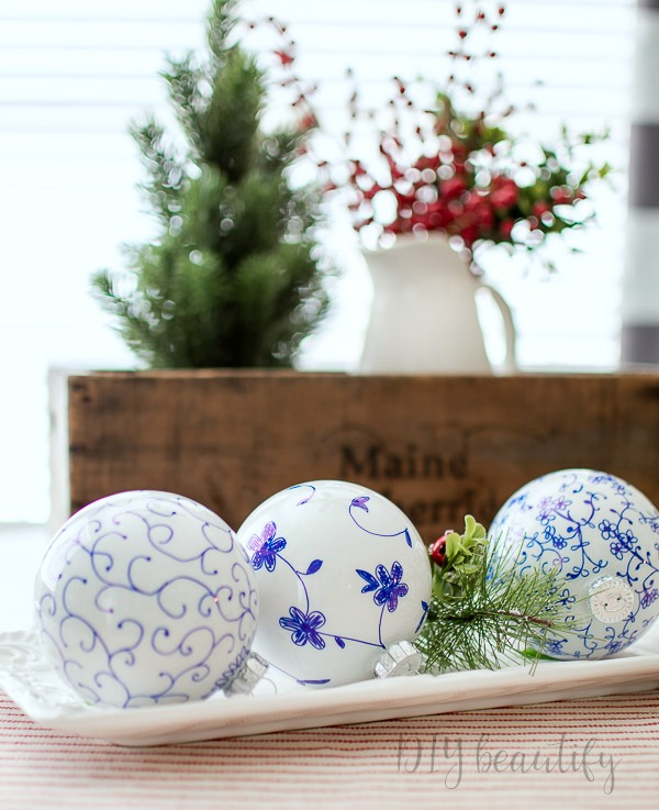 blue and white DIY Christmas ornaments
