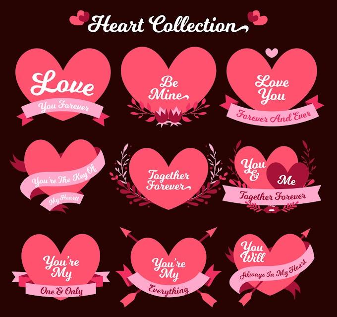 9 Valentine creative language love label vector material