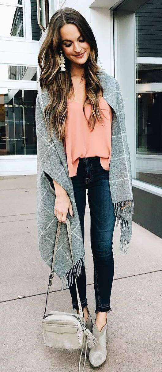 beautiful fall outfit / palid poncho + top + bag + skinnies + boots