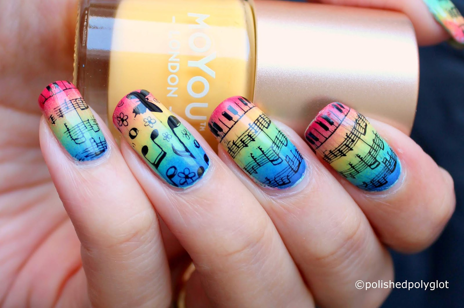 Nail Art Music With Rainbow Colours Nail Design Nail Crazies