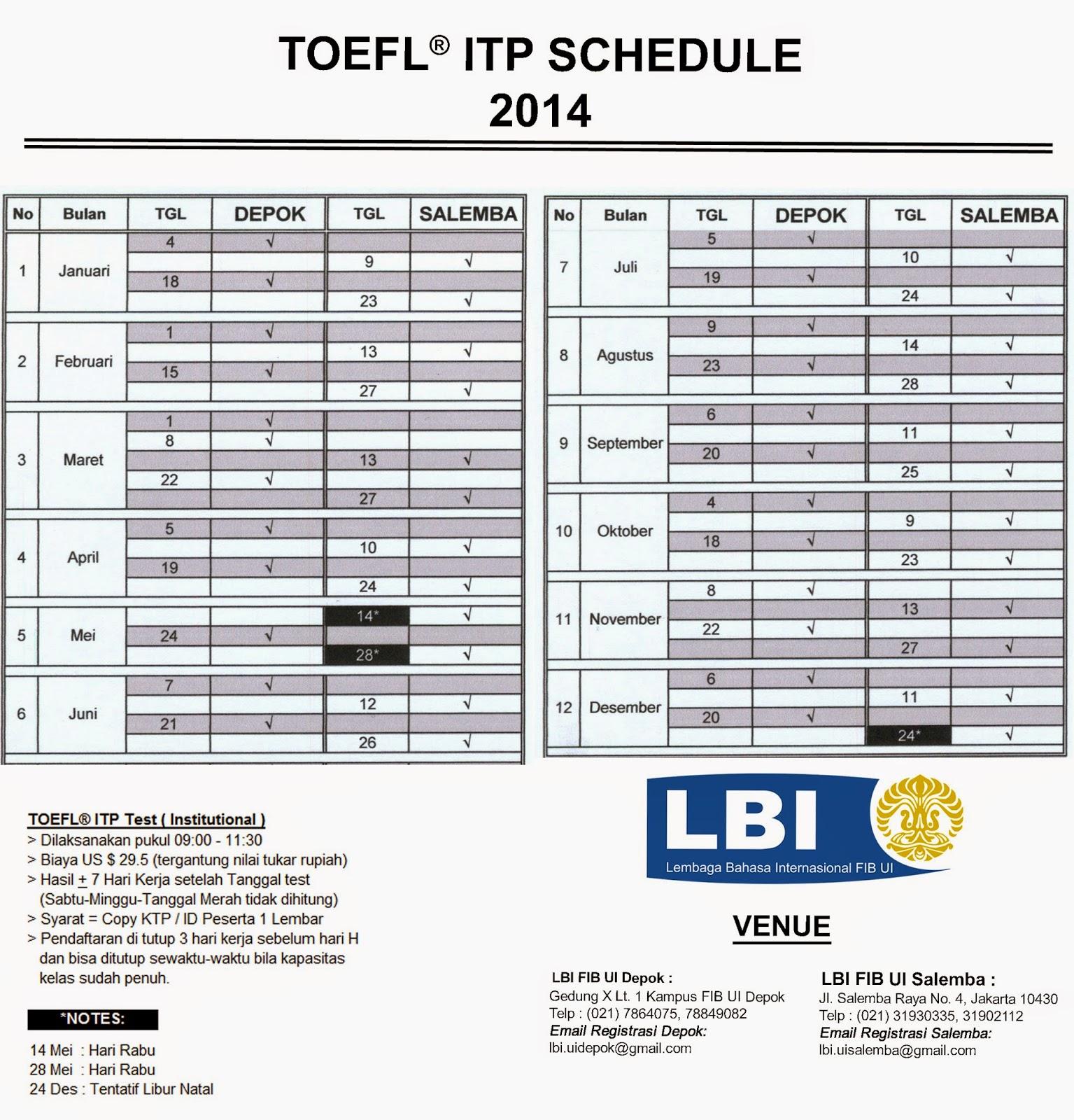 TOEFL® ITP Schedule ~ LBI FIB UI