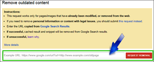 Google URL removal tool