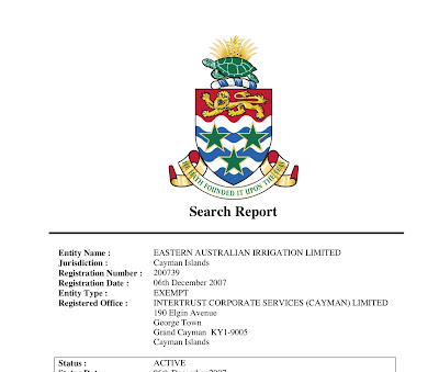 Cayman Islands company registration search report for Eastern Australian Irrigation Limited