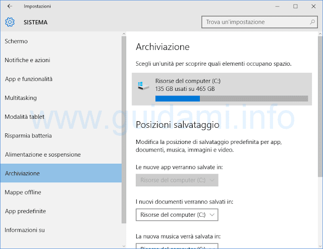 Archiviazione disco Windows 10