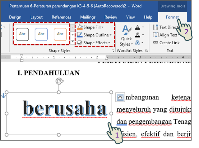 Memformat Background Objek WordArt Yang dipilih