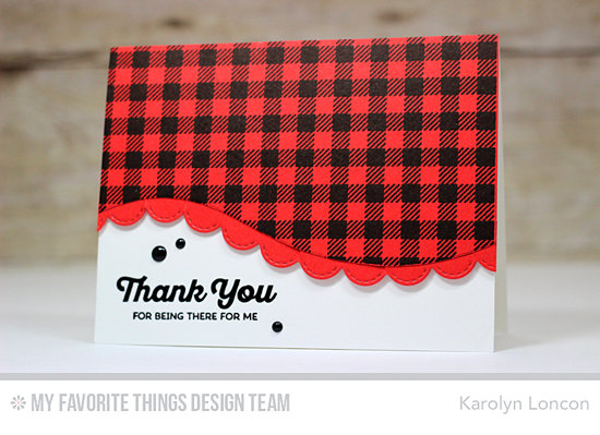 Handmade card from Karolyn Loncon featuringRainbow of Happiness stamp set, Gingham Background stamp, Snow Drifts and Stitched Scallop Edges Die-namics #mftstamps