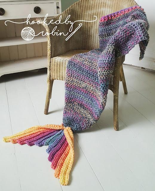 FREE Crochet Mermaid Tail Blanket Pattern by HookedbyRobin