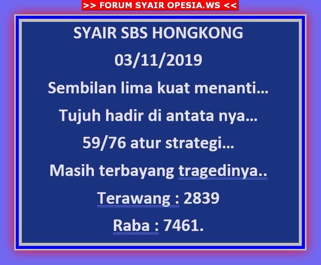 Kode syair Hongkong Minggu 3 November 2019 2