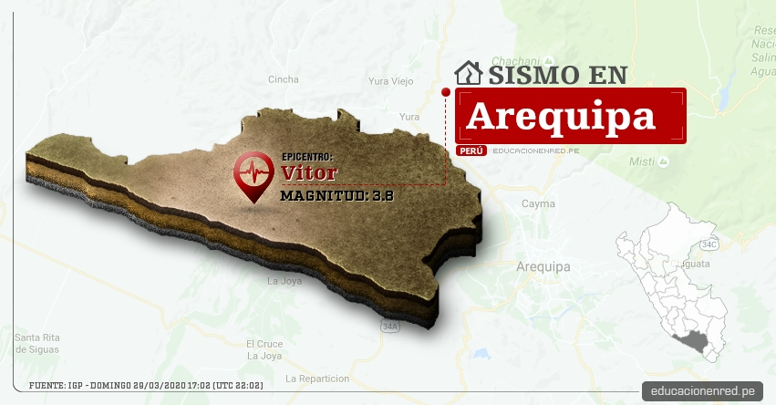 Temblor en Arequipa de Magnitud 3.8 (Hoy Domingo 29 Marzo 2020) Sismo - Epicentro - Vitor - IGP - www.igp.gob.pe