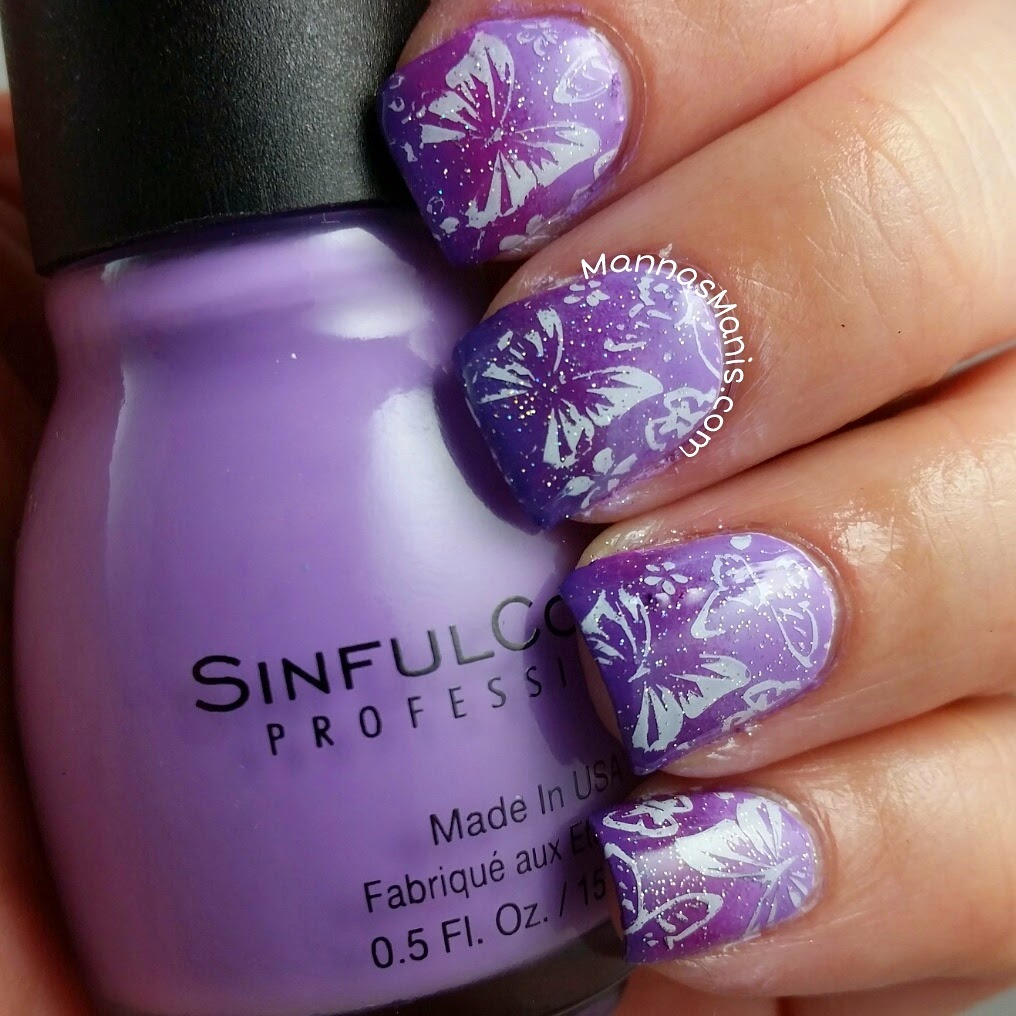 purple gradient mani with butterfly nail stamping