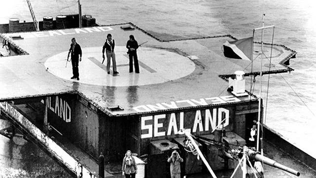 The 1978 armed invasion of Sealand by a German businessman, Alexander Achenbach. Three armed men on the Sealand platform. Pirate Radio and Sealand and Other stories of Rock, Radio, and Regulations. Marchmatron.com