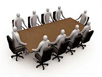Bir toplantı masası etrafındaki 3D adamlar