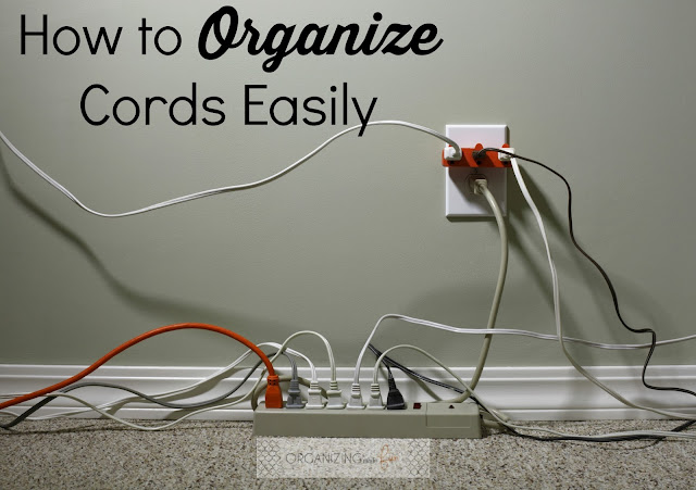 How to Organize Cords Easily :: OrganizingMadeFun.com
