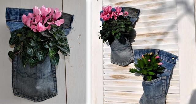 Jeansdeko für den Garten