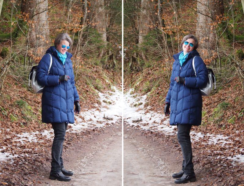 Warm verpackt mit Daunenmantel und warmen Stiefeln