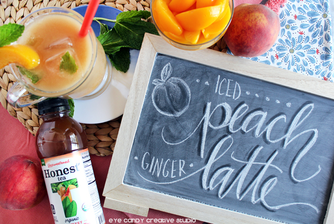chalk lettering, peach ginger, honest tea, springtime sips, tea drink