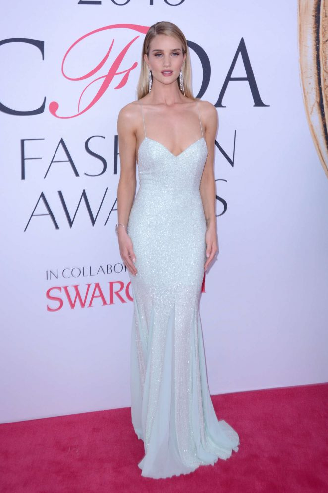 Rosie Huntington Whiteley wears plunging sequinned gown to the CFDA Fashion Awards