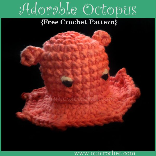This Adorable Octopus Amigurumi is a free crochet pattern designed by Oui Crochet. It is inspired by the Monterey Bay Aquarium in Monterey, CA. #OuiCrochet