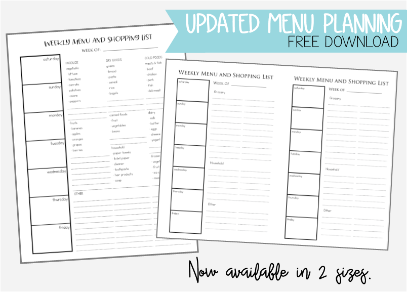 graphic about Free Printable 5.5x8.5 Planner Pages known as Menu Planner Absolutely free Obtain - In a natural way Innovative Mama