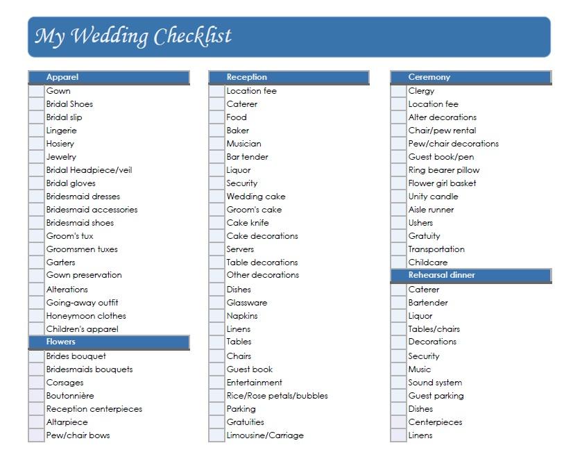 Small Wedding Ideas: Wedding Checklist