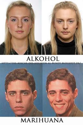 Gesichter Auswirkung von Alkohol und Marihuana - witzige Bilder