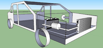 Google SketchUp 3D drawing showing car's Air Conditioning system layout