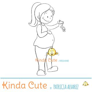 Pregnant woman digital stamp