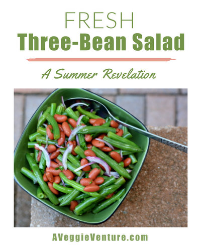 Fresh Three-Bean Salad, another easy summer salad ♥ AVeggieVenture.com, made skinny with less oil and less sugar. WW Friendly. Gluten Free. Low Carb. Vegan.