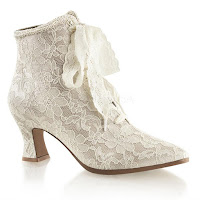 Victorian Ankle Boots Champagne Lace