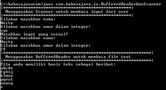 output bufferedreader scanner java