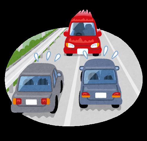 高速道路を逆走する車のイラスト