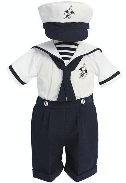 1001 fashion trends: Baby Boys Navy Blue & White Cotton ...