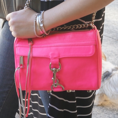 silver bracelet stack, Rebecca Minkoff hot pink mini MAC bag | AwayFromTheBlue