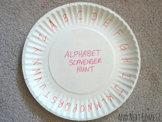Paper plate alphabet scorecard craft for a scavenger hunt