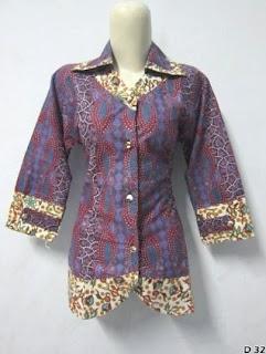 Kemeja Batik Model Lengan Panjang Modis untuk Wanita