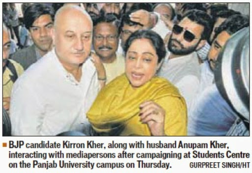 BJP candidate Kirron Kher, alongwith husband Anupam Kher & Ex-MP Satya Pal Jain, interacting with media at Student Centre, Panjab University Campus