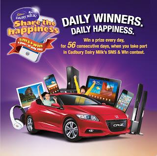 cadbury - CONTEST - [ENDED] Cadbury SMS & Win attractive prizes!